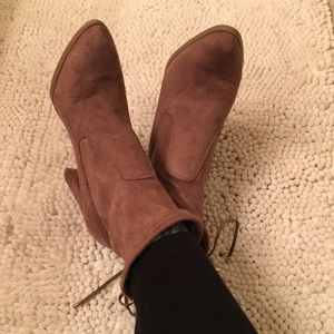 Cute brown ankle boots with ties on back